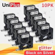 UniPlus 10PK 12mm Dymo D1 Compatible étiquette ruban couleur brillante noir sur paillettes argent pour Dymo étiqueteuse 160 400 360D PnP