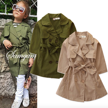 2020 Spring Summer Baby Girls Jackets And Coats British Style Jacket For Girls Clothes Waistband Girl Windbreaker Coat 2-7 Year cheap FCLHDWKK Fashion COTTON Patchwork Children REGULAR Turn-down Collar Outerwear Coats Full Fits true to size take your normal size