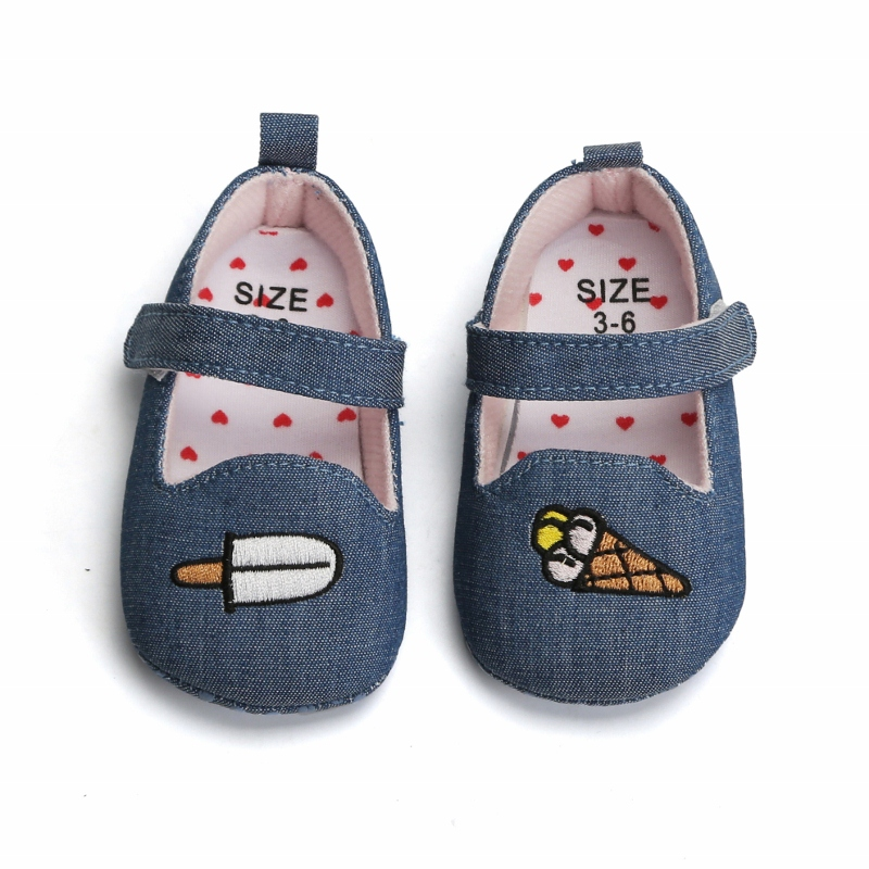 Baby Girl First Walker Shoes 2019 Spring Autumn Cute Ice Cream Denim Toddler Princess First Walkers Baby Girls Kid Shoes