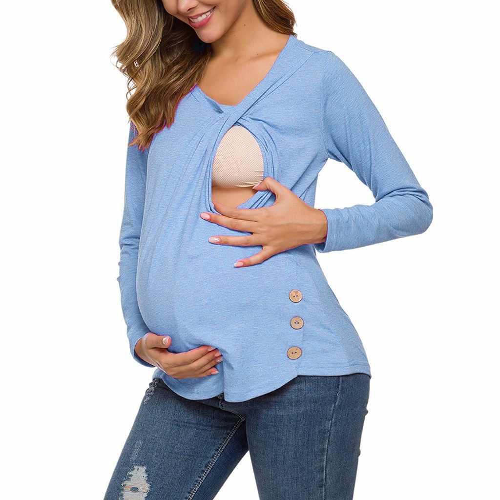 Điều Dưỡng Top Phụ Nữ Dài Tay Áo Cho Con Bú Áo Mùa Đông Nút Áo Thanh Lịch Mang Thai Đồ Embarazada TEE 19Aug