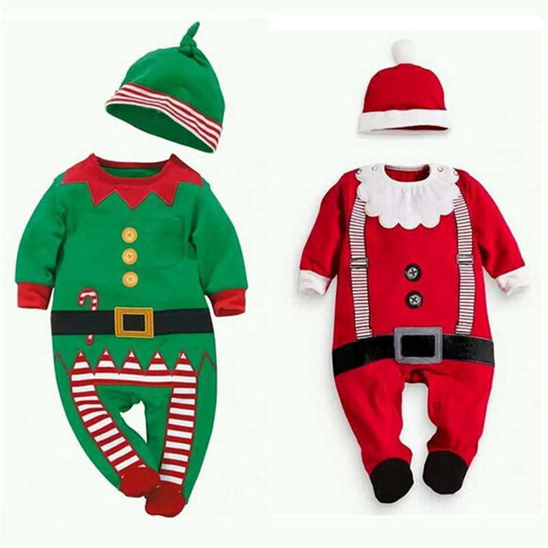 Baby boys girls Clothing Sets for kids Newborn Christmas Xmas Clothes   Romper   Hat Outfit Costume Toddler Cartoon Clothes Sets