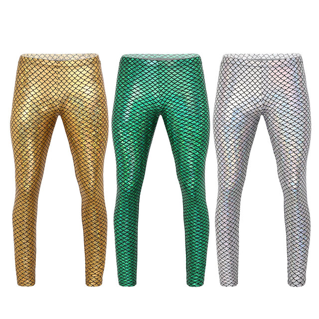 Men Pants Adults Man Shiny Mermaid Fish Scale Print Mid Rise Elastic Waistband Skinny Leggings Tights for Music Festival Costume 2