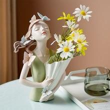 Home Decor Modern Living Room Accessories Nordic Butterfly Girl Hugging Flower Vase Decorative Vases Ceramic Home Decor Loft