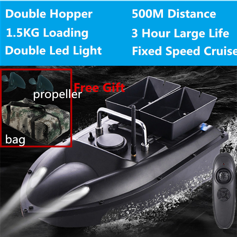 New Update Double Hopper 500m RC Distance 180mins RC Fishing Bait Boat H18 Cruise Control  With Free Waterproof Bag VS 2011-5 To
