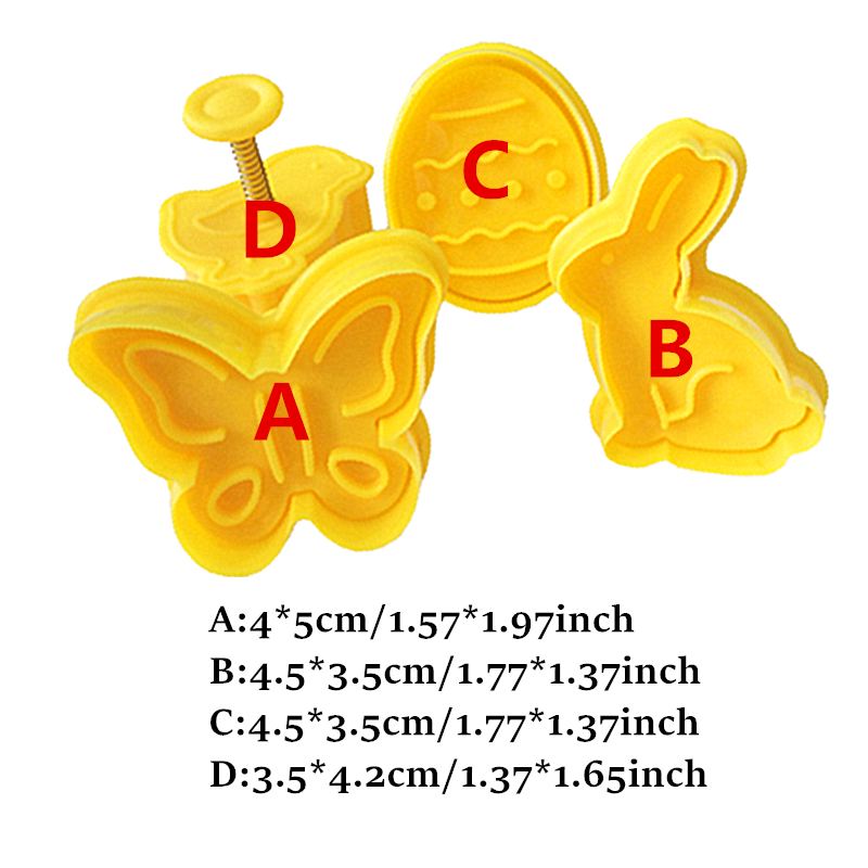 4 ピース/セットうさぎひよこ蝶プラスチックジャーフォンダンクッキーカッター金型ビスケット装飾ベーキングツールセット