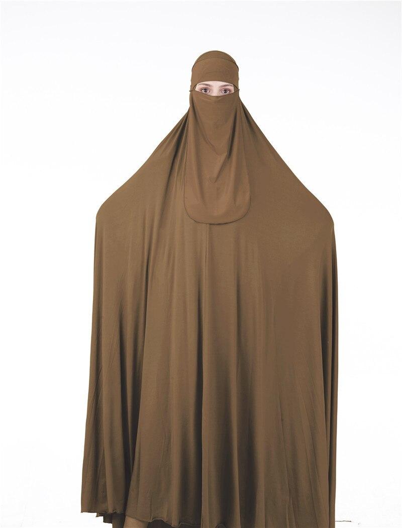 WEPBEL Muslim Women Clothes Set 2pcs Long Abaya + Hijab Veil Highly Elastic Fashion Solid Color Muslim Clothing Suit