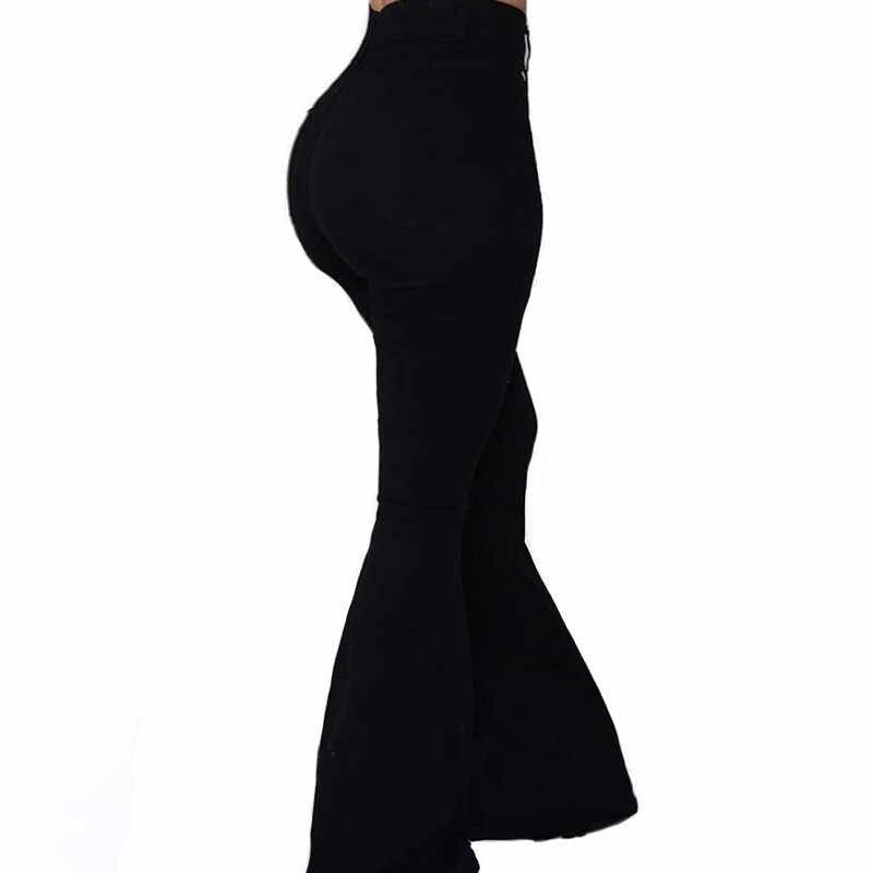 Goocheer Witte Bell-Bottom Broek Vrouwen Knop Hoge Taille Flare Broek Nieuwe Broek Slanke Toevallige Elegante Werkkleding Pantalon Femme