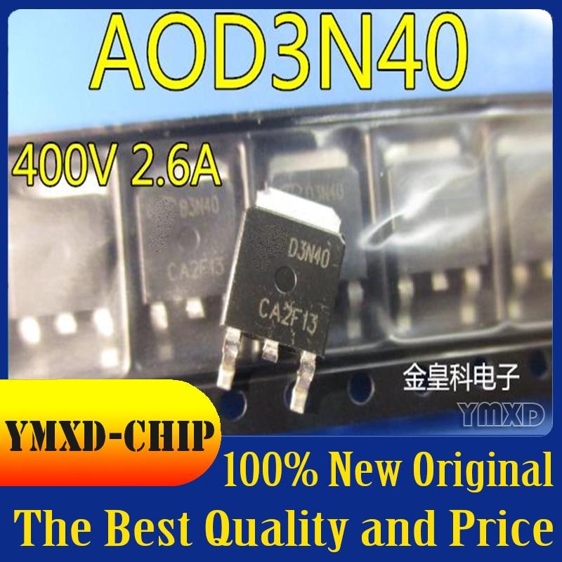 10 шт./лот новый оригинальный АОС оригинальный AOD3N40 D3N40 MOS и триодов, 400V 2.6A патч-252 A0D3N40 в наличии