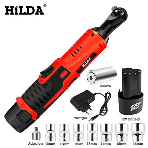 HILDA 12V Electric Wrench Kit Cordless Ratchet Wrench Rechargeable Scaffolding Torque Ratchet With Sockets Tools Power Tools Electric Wrenches     - title=
