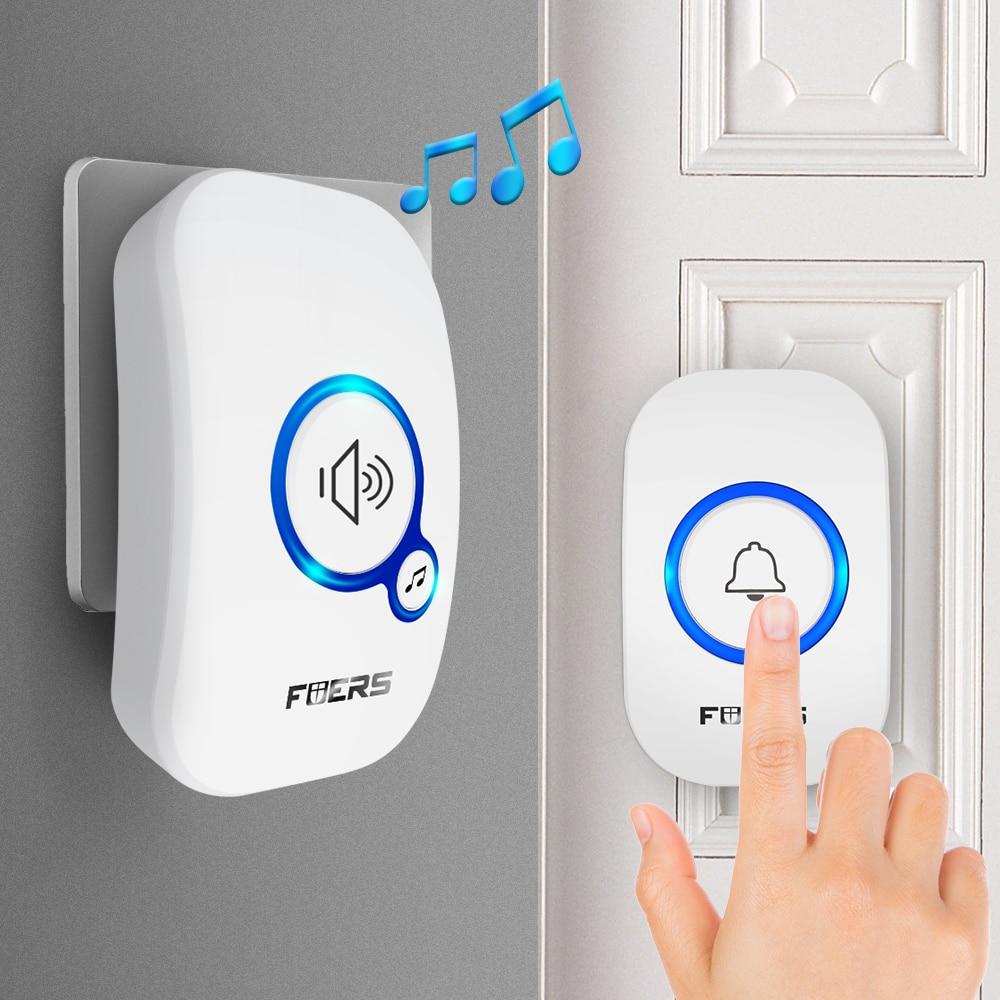 Fuers Wireless Doorbell Waterproof Doorbell Welcome Home 4 Volume Adjustable 100M Transmission Door Bell With Battery Doorbell