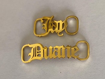 Custom Name Shoe-buckle Stainless Steel Personalized Nameplate Buckie Gold Silver Color Charm For Couple Anniversary Jewelry personalized custom infinite name bracelet silver gold chain stainless steel nameplate charms couple jewelry for women men