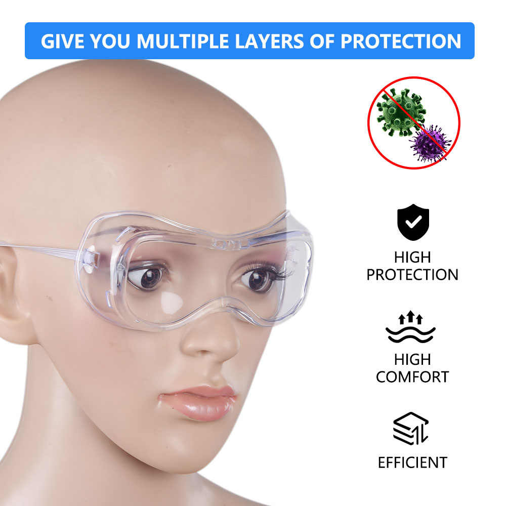 2pcs Safety Glasses Work Goggles Anti-wind Anti-sand Anti Fog Anti Dust Resistant Transparent Eyewear Protective Glasses