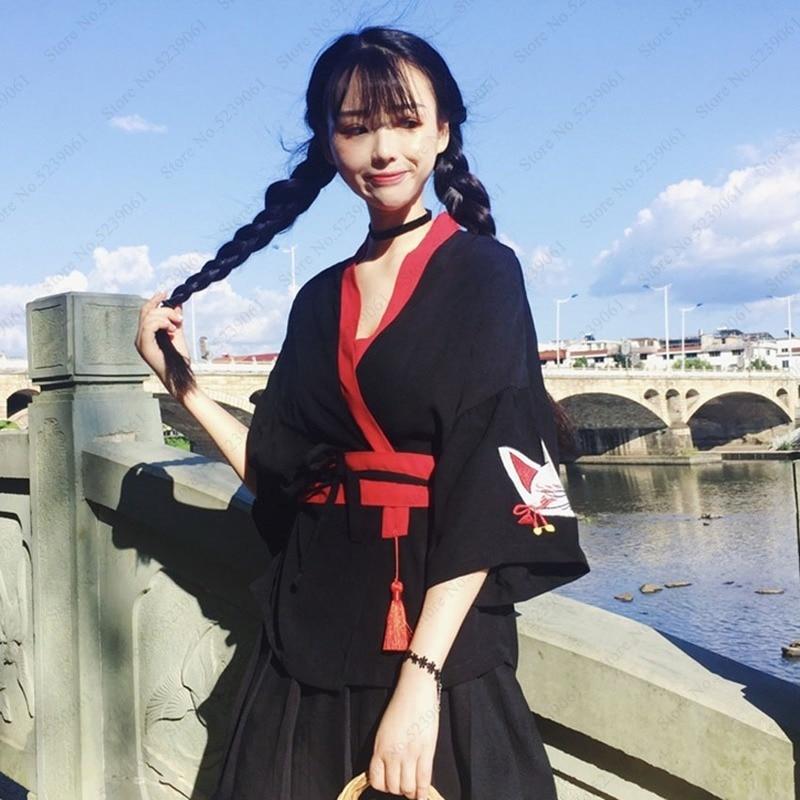 Kimono Robes Japanese Style Jackets Yukata Haori Cat Retro Sakura Harajuku Asian Clothes Loose Blouse Women Cardigan Haori Coats
