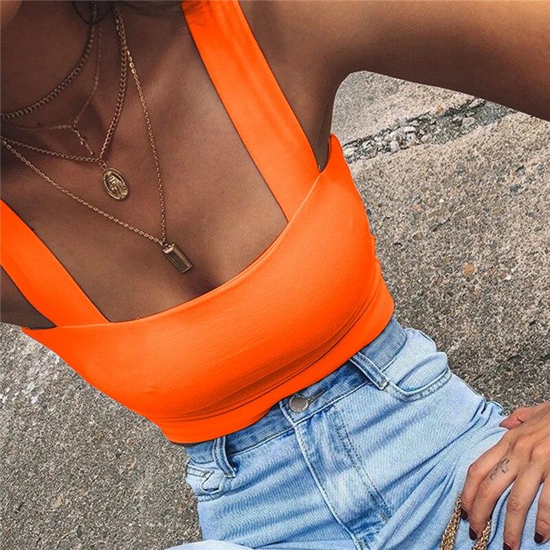 Nadafair Pure Summer Tank Women 2020 Sleeveless Vest White Crop Top Strap Elastic Camis Tank Top Black Orange Red