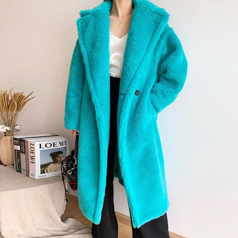 Женское теплое пальто Bella Philosophy, длинное пальто из искусственного меха с длинным рукавом, повседневное Свободное пальто с плюшевым мишкой|Куртки из искусственного меха| | АлиЭкспресс