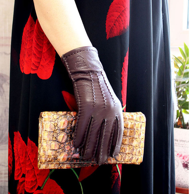 Deerskin gloves womens thin wool lining hand stitched autumn warm outdoor travel black ladies driving leather gloves