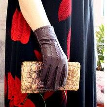 Deerskin rękawiczki damskie cienka wełna podszewka ręcznie szyte jesień ciepłe outdoor travel czarne damskie skórzane rękawiczki jazdy