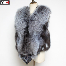 Fox-Fur Jackets Vest Silver Natural Fashion Sleeveless 100%Real Warm Soft Good-Quality