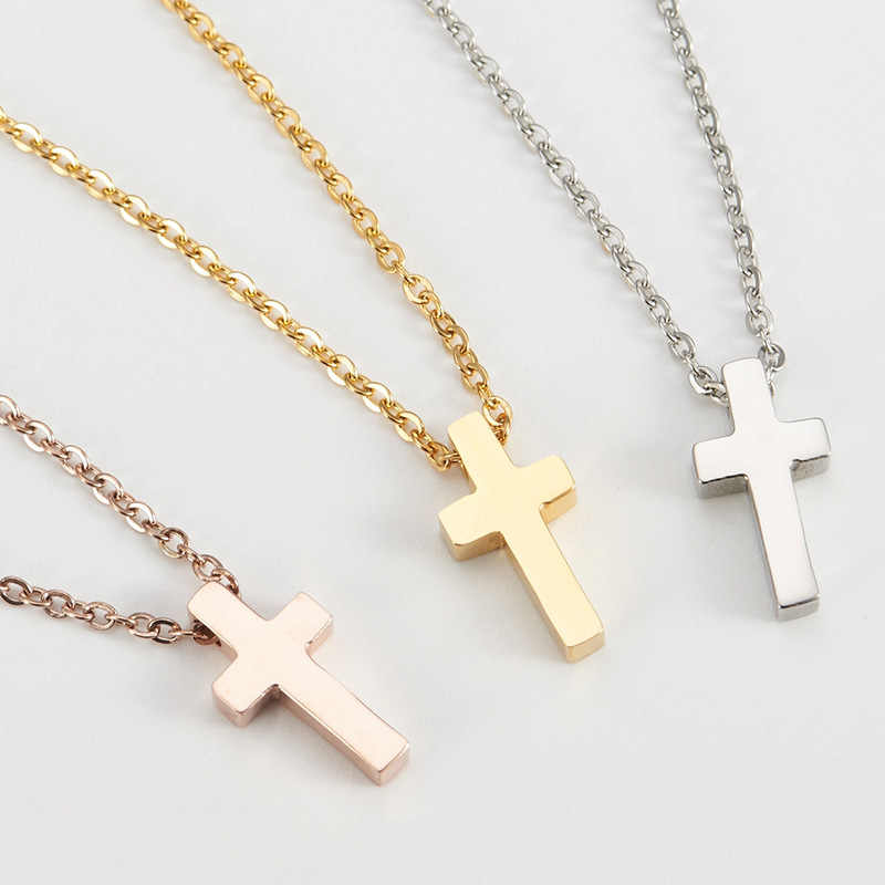 Simple Religious Small Cross Titanium Steel Necklace Christian Catholic in Wall Crosses from Home Garden