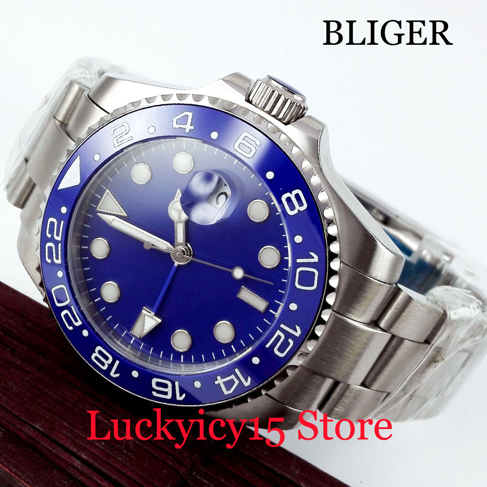 BLIGER High Quality Blue Dial GMT Function Stainless Steel Strap 40mm Silver Automatic men's Watch With Date Window