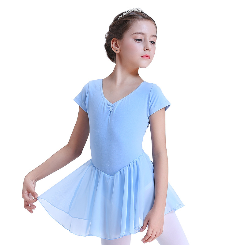 Children Shapewear Girls' Short Sleeve Shirt Leotards CHILDREN'S Baby Kids Ballet Mesh Dress Children Dance Clothes