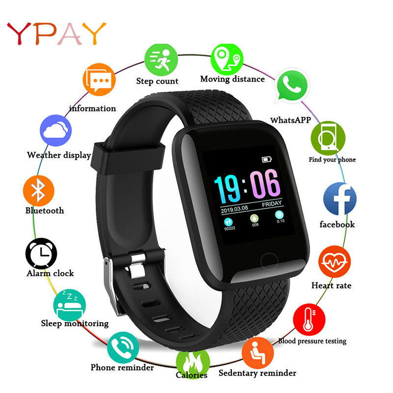 YPAY D13 Smart Watch 116 Plus Heart Rate Watch Smart Wristband Sports Watches Smart Band Men Women IP67 Waterproof Smartwatch
