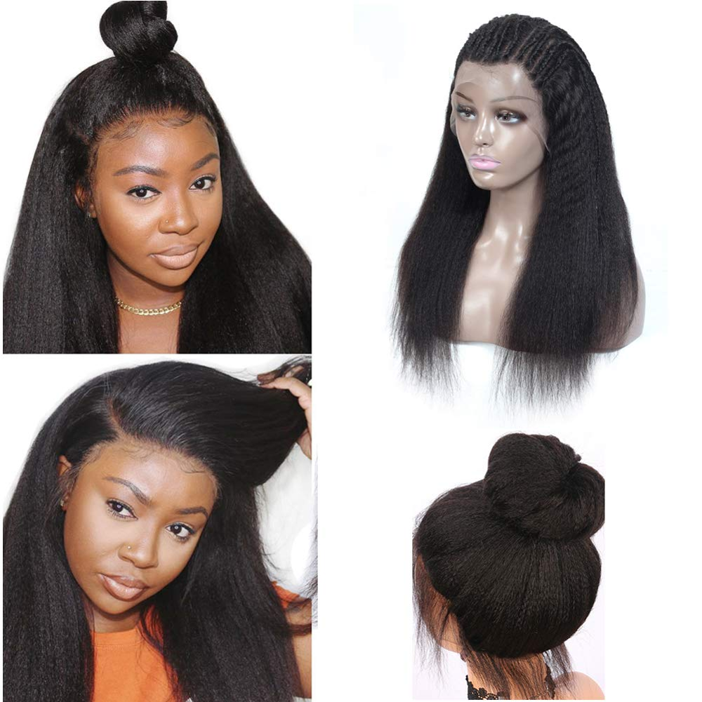 Kinky Straight Human Hair Wigs 370 Lace Frontal Wig Brazilian Remy 150 Density 360 Lace Wig Pre Plucked For Women With Ponytail