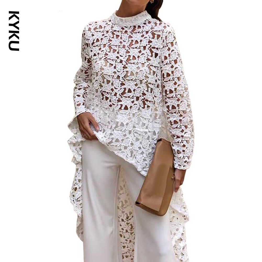 blouse Spring Autumn Fashion Women Solid Color Hollow Out Lace Blouse High Low Top Round Neck Hollow Out High Low Hem Blouse
