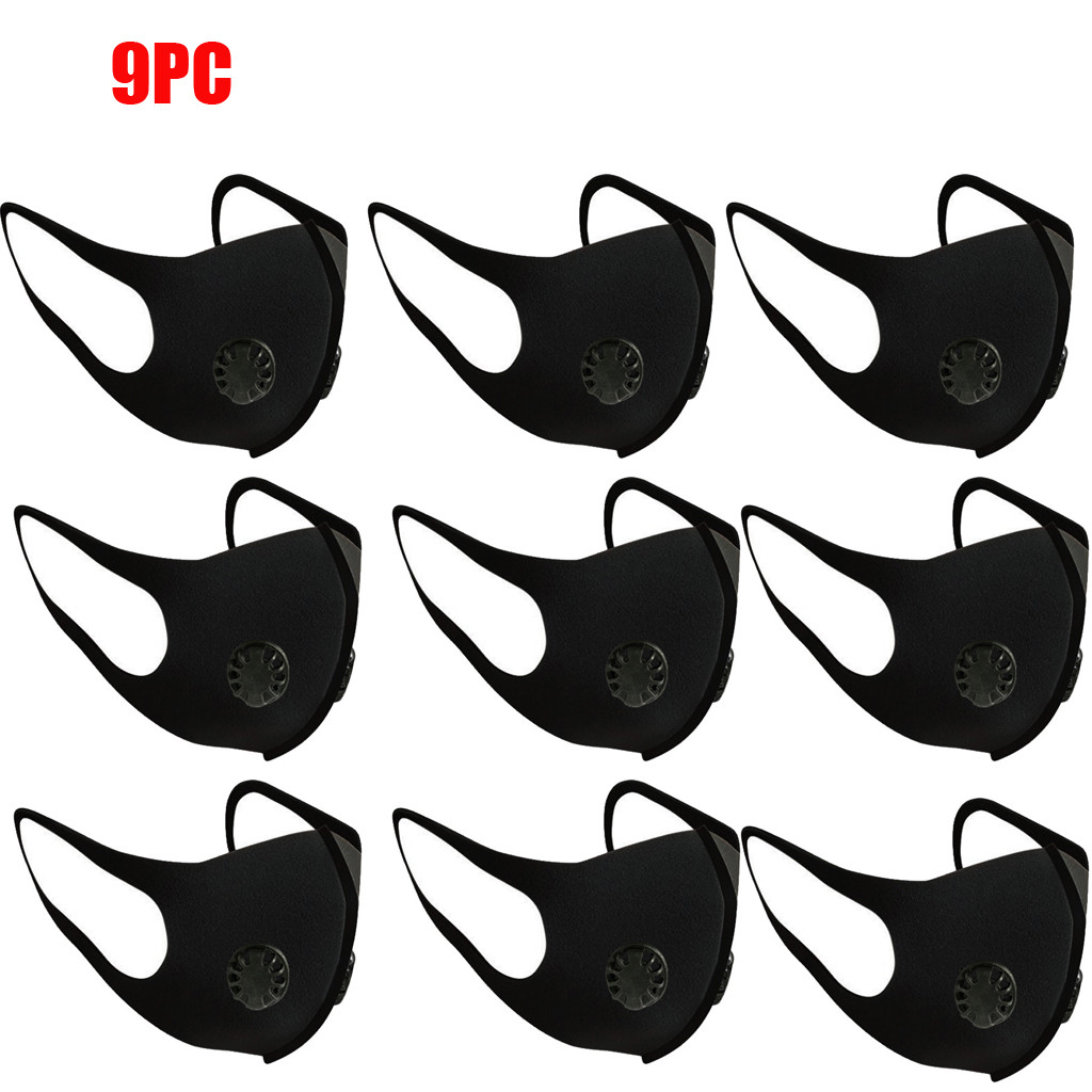9 PC Washable Elastic Ear Loops Face Breathing Face Mask Reusable Anti-Dust Cotton Lip Mask Fashion Adult Face Mask Respirator