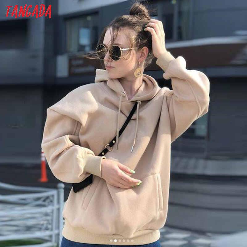 Tangada 여성 양털 까마귀 스웨터 겨울 일본 패션 2020 특대 숙녀 pullovers 따뜻한 주머니 후드 자켓 SD60