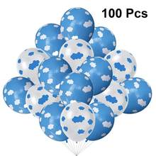 100Pcs Latex Balloons Sky Clouds Pattern Ballons Birthday Party Ornaments Wedding Banquet Decoration (White Blue 50 Each)(China)