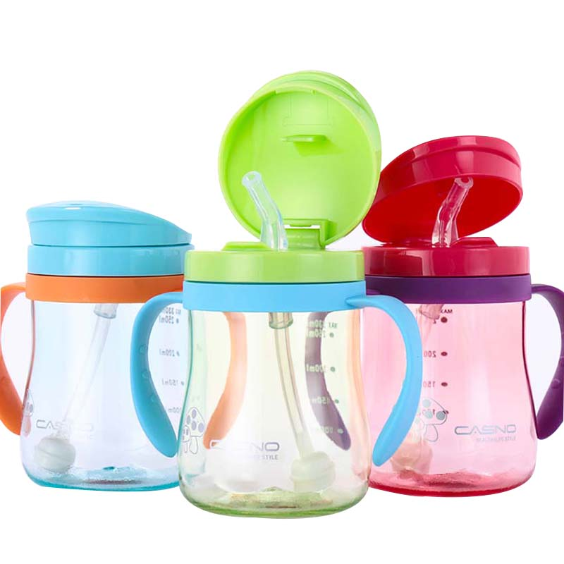 330ml Shock-resistant Baby Sippy Cups Kids Drinking Bottles Infant Children Learn Drinking Dual Handles Straw Juice Slid Feeding