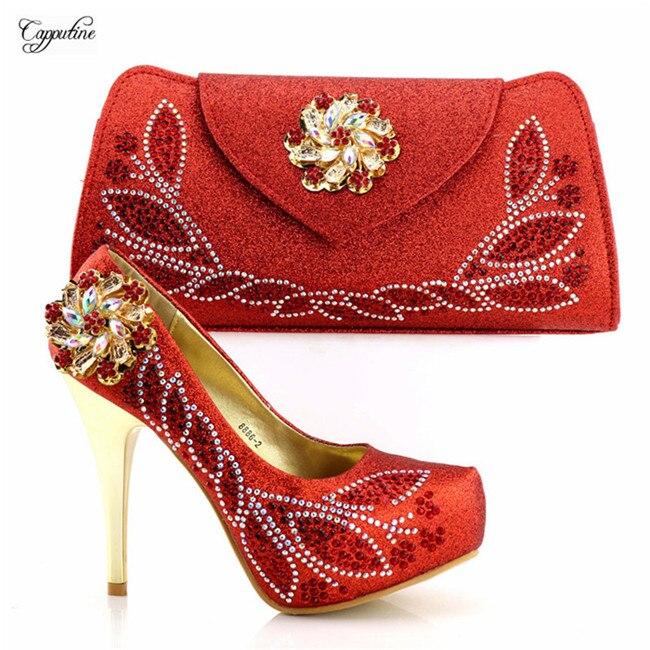 Gracieuse sandale à talons hauts rouge et sac chaussures étonnantes avec des ensembles de sac à main avec des pierres 8886-2, hauteur du talon 12cm