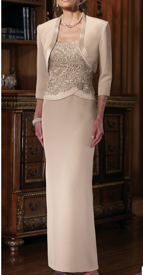 2015 Formal Gowns Long Lace Mother Of The Bride Dresses With Jacket Three Quarter Sleeve Beading Elegant Vestido De Madrinha