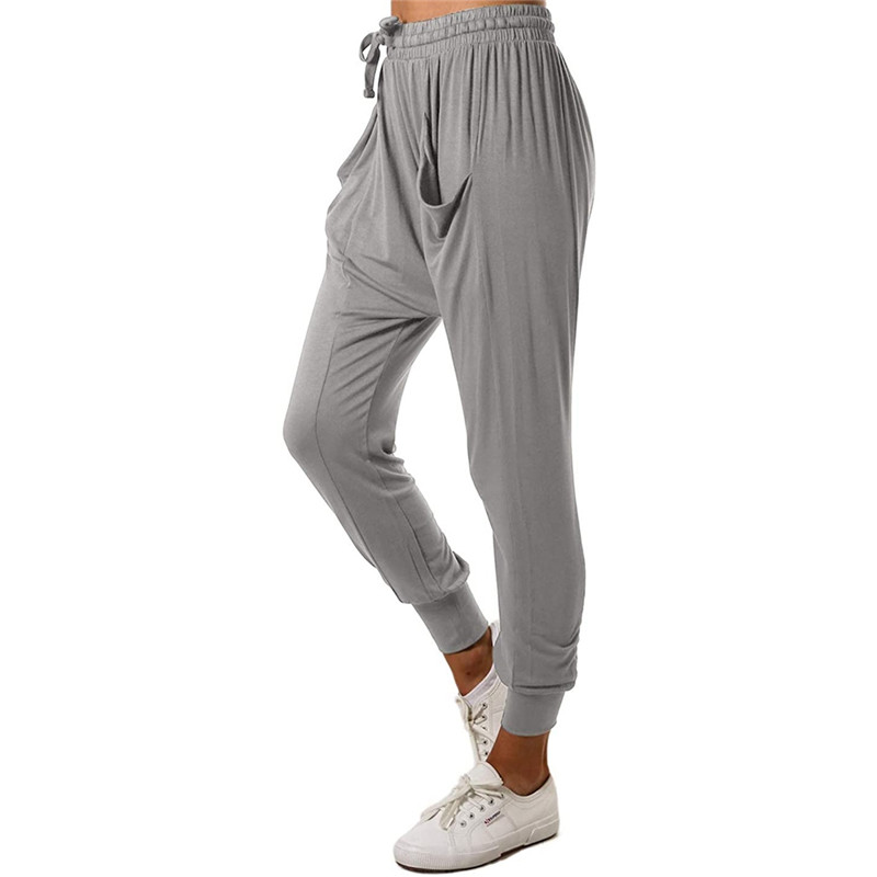 Women Harem Pants High Waist Stretch Pants Casual Loose Office Trousers Fashion Solid Color Drawstring Draped Tunic Capris