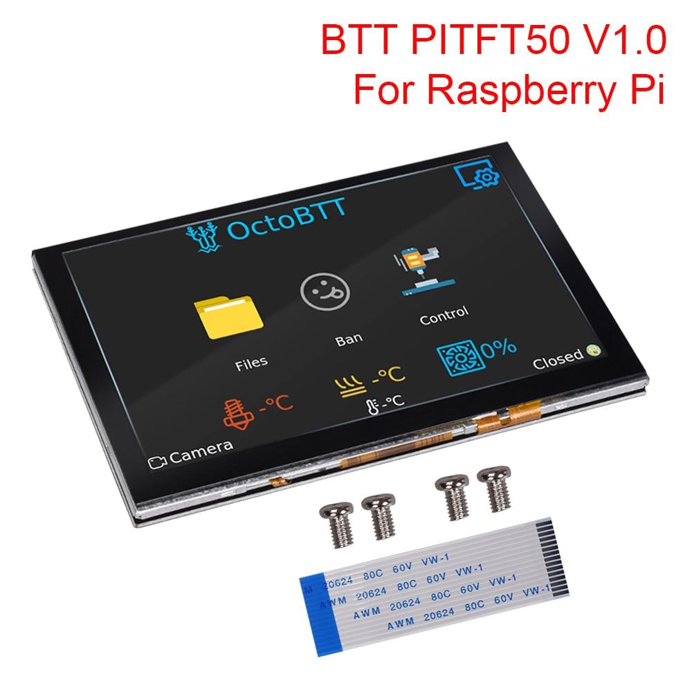 Bigtreetech pitft50 v1.0 tela de toque 5 Polegada octoprint capacitivo display lcd para raspberry pi 4/3 3b +/2b peças impressora 3d tft50