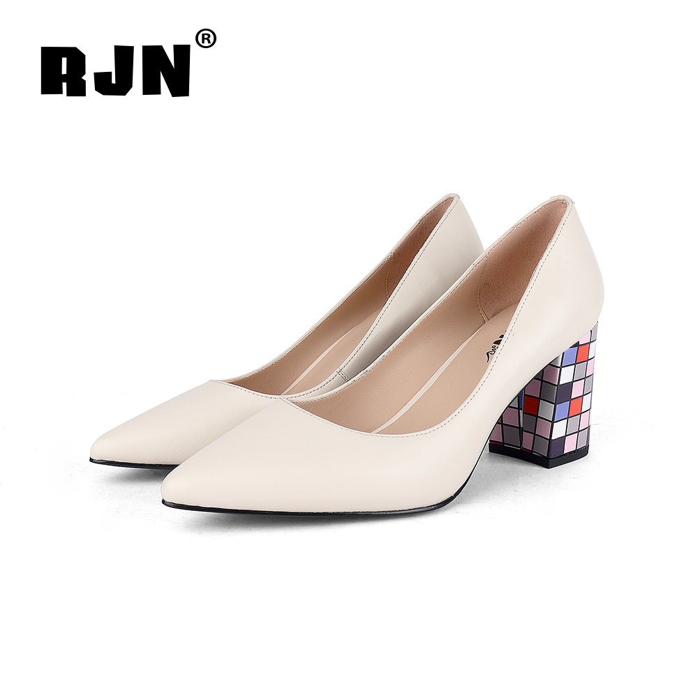 Cheap RJN Sexy Pointed Toe Women Pumps Stylish Color Heel High Quality Soft Sheepskin Slip-On Shoes Shallow ladies Pumps For Party R39