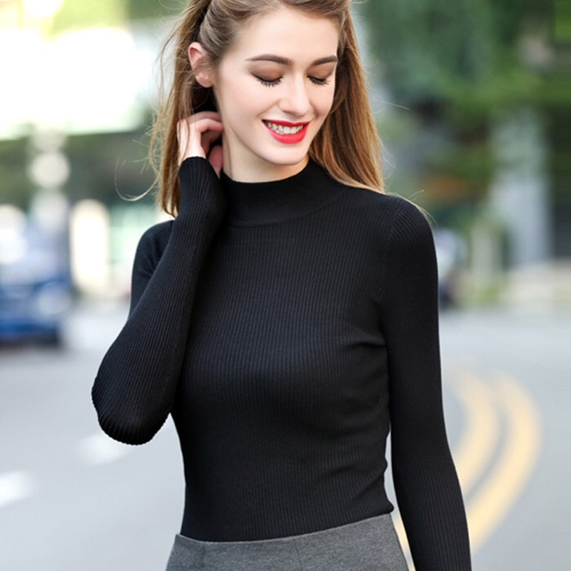 Women Thin Black  Sweater Winter Pullover Knitted Simple Solid Color Autumn Elastic Slim Fashion Lady Sexy Bottom Knit Casual