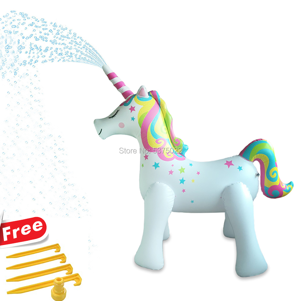 170cm Ginormous Unicorn Sprinkler Inflatable Float Yard Garden Party Water Spray Toy For Kids Family Fun