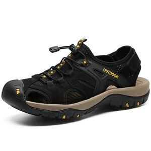 Image 2 - Letnie męskie sandały oryginalne skórzane biznesowe obuwie męskie oddychający design sandały plażowe rzymskie trampki wodne