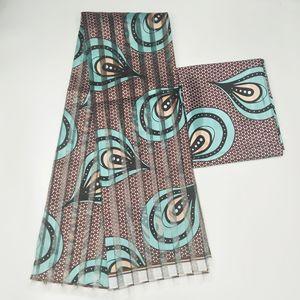 Новая африканская шелковая восковая ткань цифровая печать атласная восковая ткань для платья африканская восковая шелковая ткань с шифоновым набором для вечернего платья