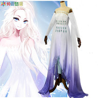 2020 Snow Princess Elsa Cosplay Costume White Dress Elegant Halloween Party High Quality Women Outfit free shipping