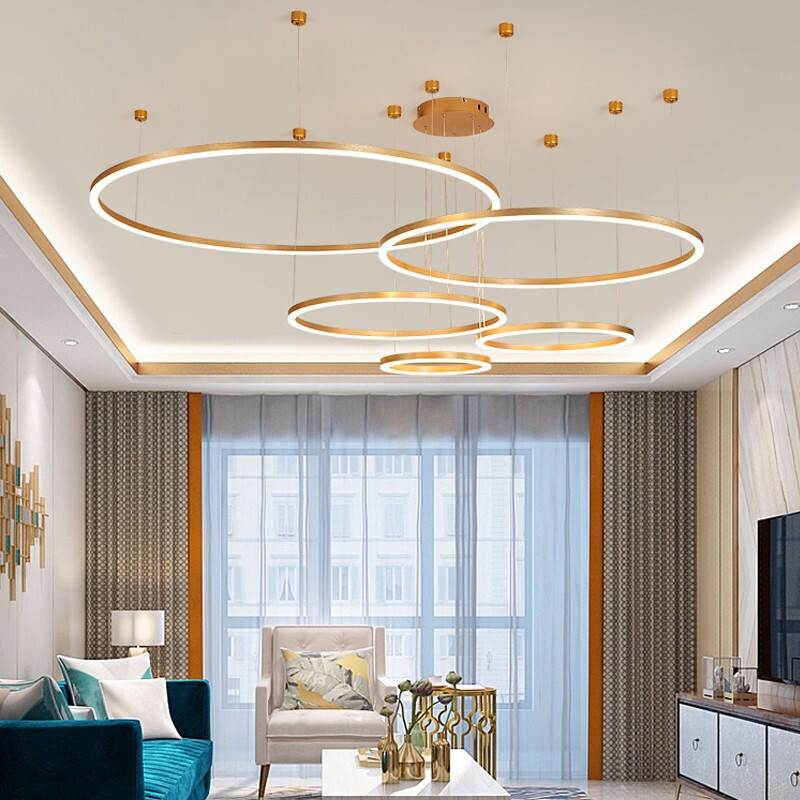 Luxury LED Chandeliers Lighting For Kitchen Living room Loft Hanging Chain Nordic Gold Chandelier Bedroom Lamp lustre industriel
