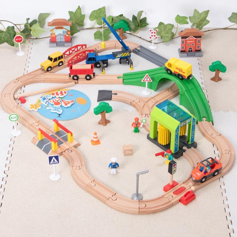 Набор деревянных дорожек для автомойки, деревянная железная дорога, обучающая головоломка, игрушки, совместимые с брендом, деревянные игру...