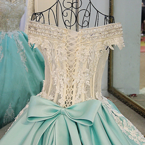 Image 5 - LS21700 New ball gown evening dresses lace up back back short sleeves lace formal evening gowns dresses light green real photos