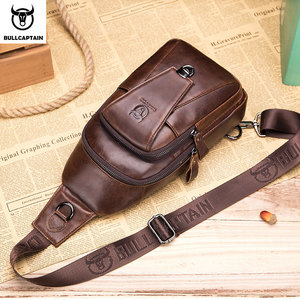 Image 2 - BULLCAPTAIN Genuine Leather Chest Back Pack chest bag men fashion Messenger bags Multifunctional card bages mobile phone bags