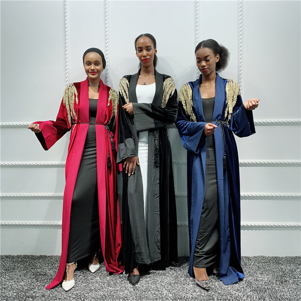 Sequin Velvet Abaya Kimono Cardigan Muslim Hijab Dress Abayas For Women Robe Kaftan Dubai Caftan Marocain Qatar Islamic Clothing