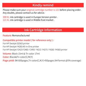 Image 5 - HWDID 121XL refilled ink cartridge compatible for hp/HP 121 XL  for hp121 for Deskjet D2563 F4283 F2423 F2483 F2493 F4283 F4583