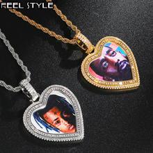 Хип хоп на заказ фото сердце медальоны iced out bling aaa кубический
