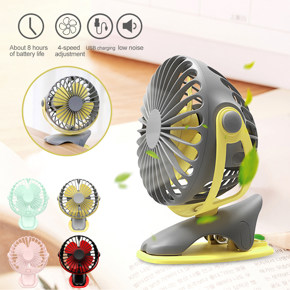 1PCs Portable Desktop Clip Fan 360 Degree 4 Speeds Rechargeable Air Fan USB Charging Cooling 4000mAh Fans Outdoor Tools